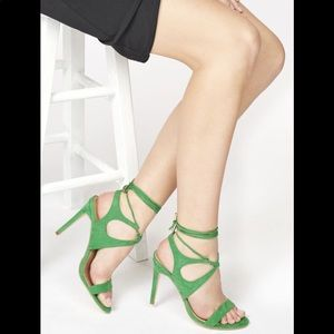 JustFab size 7 lace-up green heels fabric suede